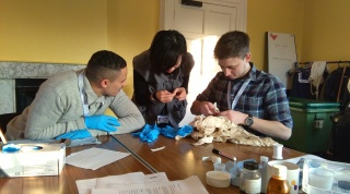 Anton, Sammi and Scott learning to sew