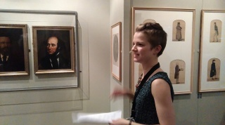 Curator, Emma giving a talk on Faces of Colchester