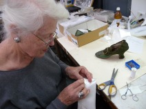 Kath making padded inserts for shoes